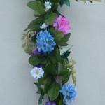 blue pink purple peony garland